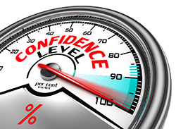 confidence level conceptual meter indicating hudrend per cent. isolated on white background